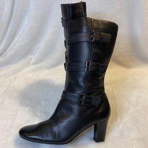 ecco Black Three Strap Boots Zippers Heeled 7.5